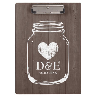 Rustic country chic mason jar wedding clipboard