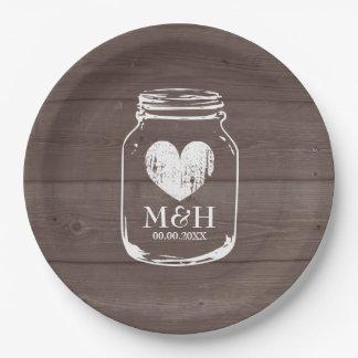 Rustic country chic mason jar wedding party plates