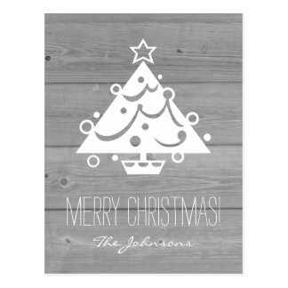 Rustic country chic wood panel Christmas card Postcard