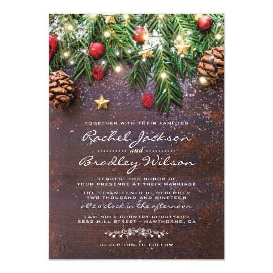 Christmas Wedding Invitations.Rustic Country Christmas Holiday Winter Wedding Invitation