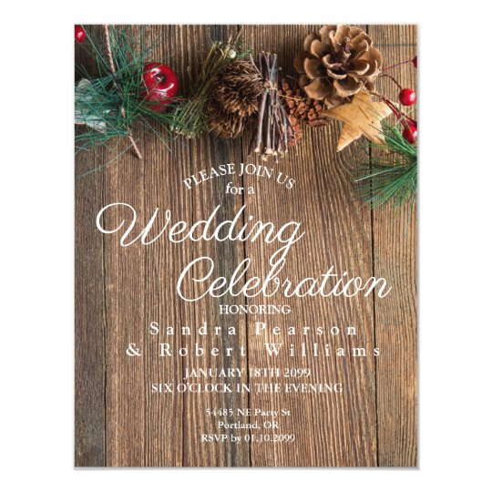 Rustic Country Christmas Wedding Invitation