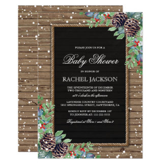 Rustic Country Christmas Winter Baby Shower Card