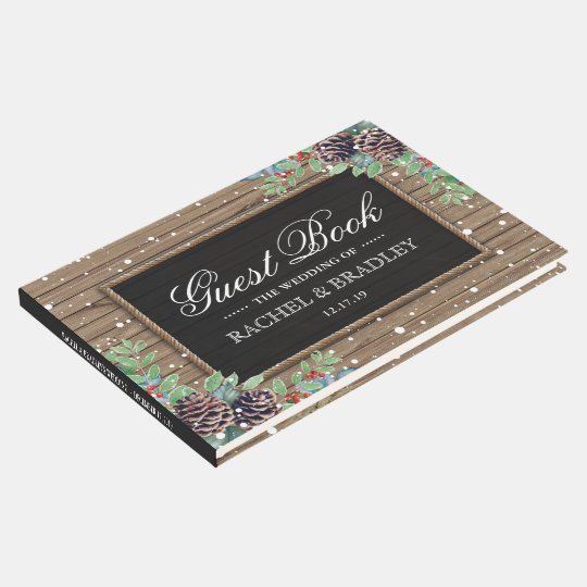 Rustic Country Christmas Winter Wedding Guest Book