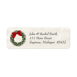 Rustic Country Christmas Wreath Address Label