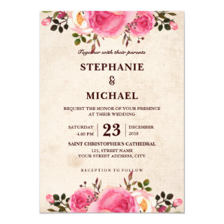 Rustic Country Classy Floral Wedding invitation