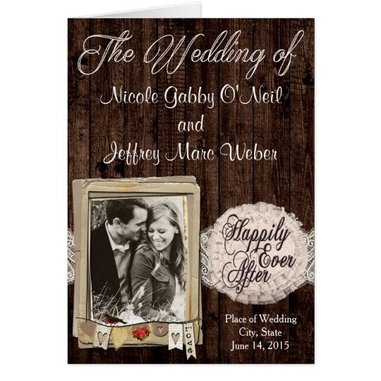 Rustic Country Couple Photo Wedding Program Card
