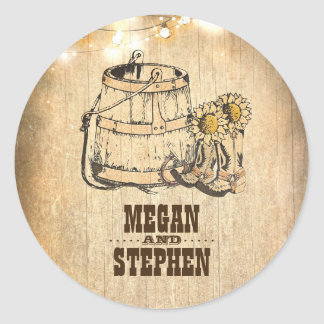 Rustic Country Cowboy Boots Barn Lights Wedding Round Sticker