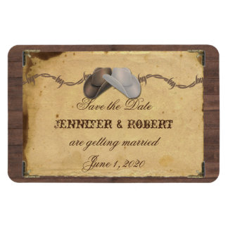 Rustic Country Cowboy Hats Wedding Save the Date Magnet