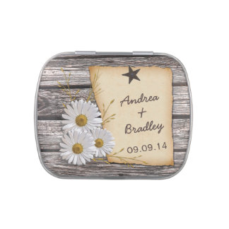 Rustic Country Daisy Wedding Favor Candy Tin