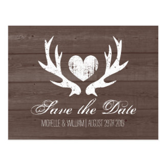 Rustic country deer antler save the date postcards