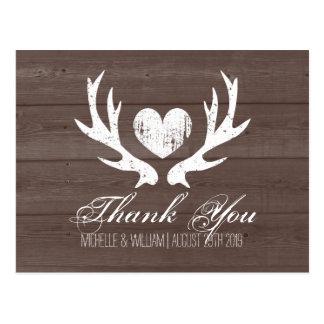 Rustic country deer antler wedding thank you cards