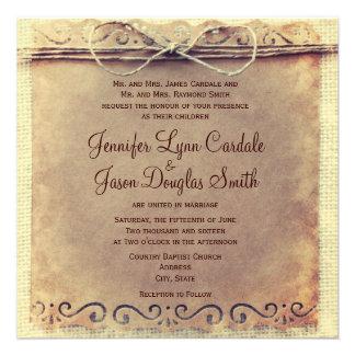 Rustic Country Distressed Vintage Wedding Invites