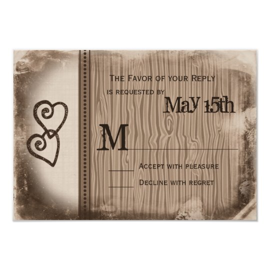 Rustic Country Double Hearts Wedding RSVP Cards