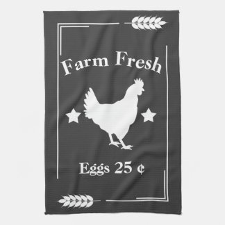 Rustic Country Farm Fresh Chicken Eggs Tea Towel