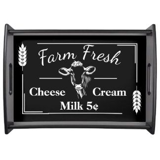 Rustic Country Farm Fresh Dairy & Wheat Sprigs Serving Tray
