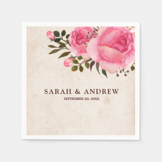 Rustic Country Floral Burlap Paper Napkin