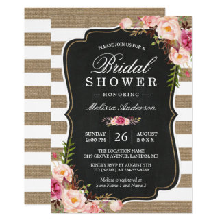 Rustic Country Floral Burlap Stripes Bridal Shower Card