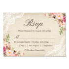 Rustic Country Floral Lace Burlap Meal Choice RSVP Card