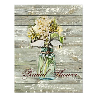 rustic country floral mason jar bridal shower invite