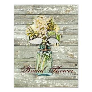 "rustic country floral mason jar bridal shower 4.25"" x 5.5"" invitation card"