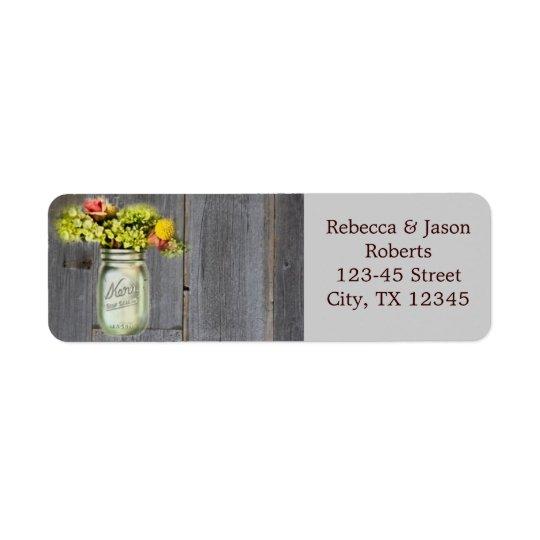 rustic country floral mason jar wedding return address label