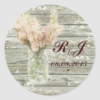 rustic country floral mason jar wedding thank you classic round sticker