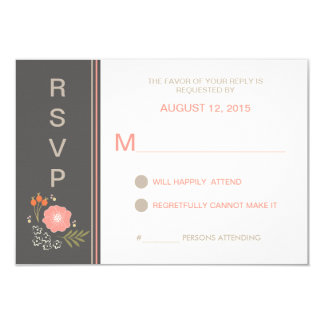 Rustic Country Floral RSVP 9 Cm X 13 Cm Invitation Card