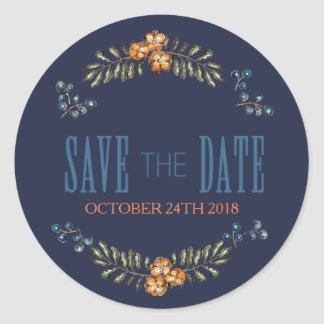 Rustic Country Floral Wedding Save the Date Classic Round Sticker