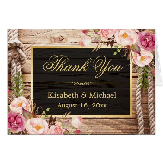 Rustic Country Floral Wood Gold Frame Thank You