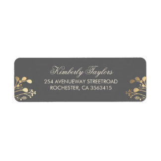 Rustic Country Gold Wedding Return Address Label