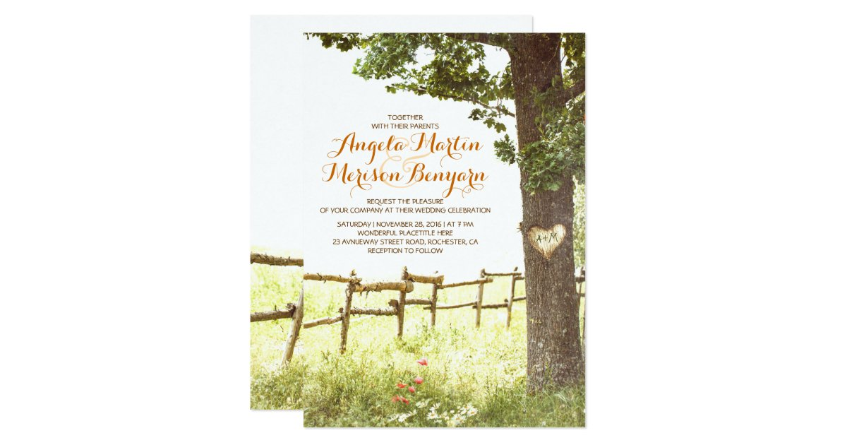 Heart Wedding Invitations Uk: Rustic Country Heart Tree Wedding Invitation