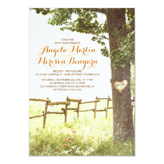 rustic country heart tree wedding invitation