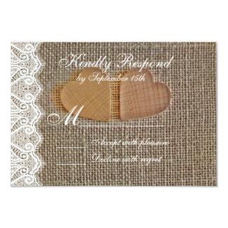 Rustic Country Hearts Burlap Lace Wedding RSVP 9 Cm X 13 Cm Invitation Card