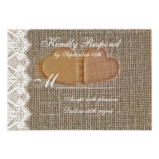 Rustic Country Hearts Burlap Lace Wedding RSVP Invitations