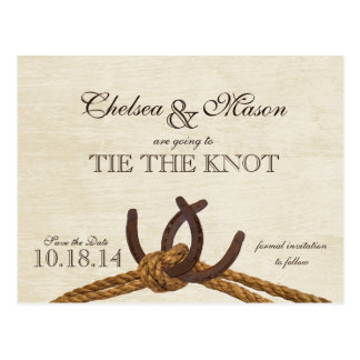 Rustic Country Horse Shoes Save the Date Postcard