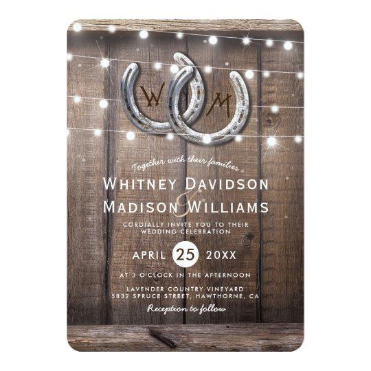 Rustic Country Horseshoe Barn Lights Wedding Card