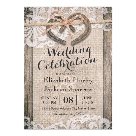 Rustic Country Horseshoe Burlap Lace Wedding Card