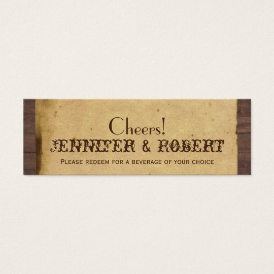 Rustic Country Horseshoes Wedding Drink Tickets