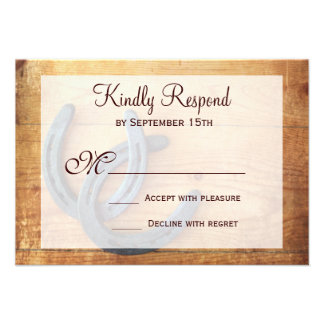 Rustic Country Horseshoes Wedding RSVP Cards