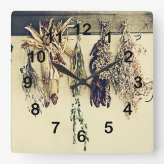 rustic country kitchen - dried herbs clocks