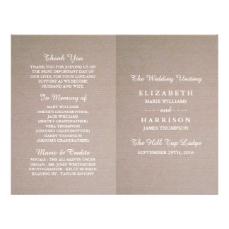 Rustic Country Kraft Wedding Bi-fold Program Flyer