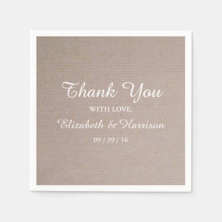 Rustic Country Kraft Wedding Reception Thank You Disposable Napkin