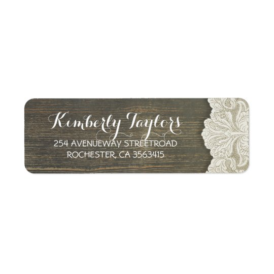 Rustic Country Lace and Wood Wedding Return Address