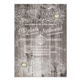 Rustic Country Lace Elegance Wedding Invitation