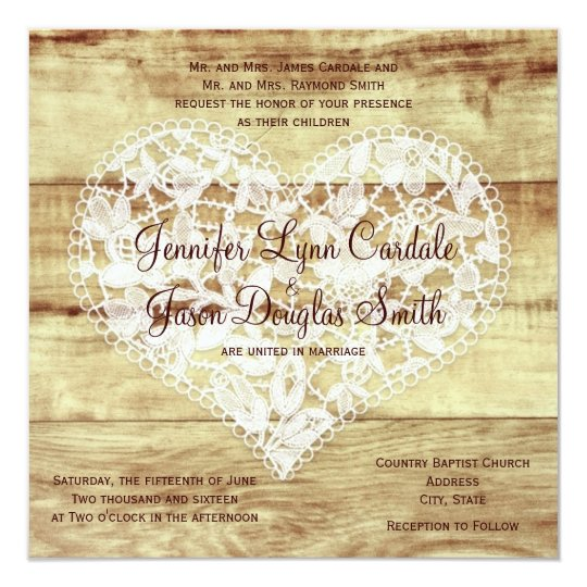 Rustic Country Lace Heart Barn Wedding Invitations