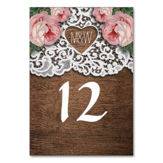 Rustic Country Lace Heart Floral Table Number