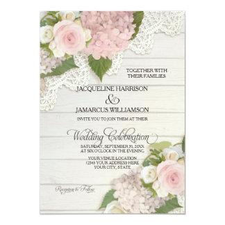 Rustic Country Lace Wood n Pink Hydrangeas Wedding 13 Cm X 18 Cm Invitation Card