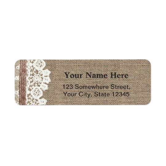 Rustic Country Laced Burlap Twine Return Address Return Address Label