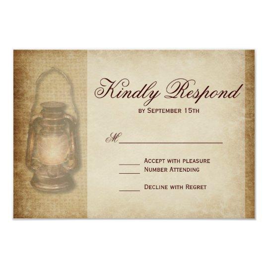 Rustic Country Lantern Vintage Wedding RSVP Card