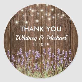 Rustic Country Lavender Lights Wedding Favor Classic Round Sticker